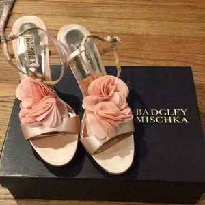 Badgley Mischka Randee pink satin- never worn